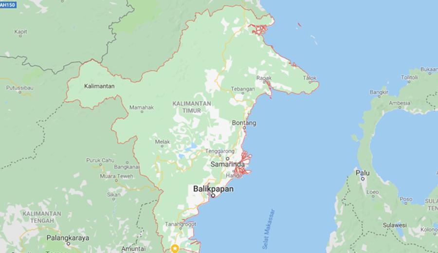 Peta ibu kota baru, Kalimantan Timur.